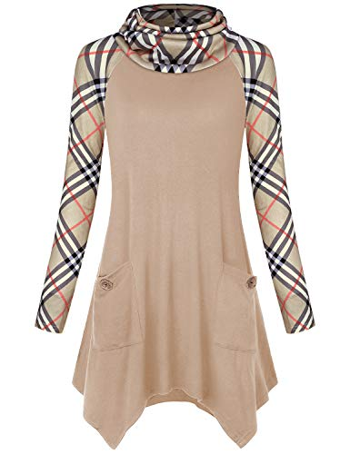 Hibelle Plaid Tunic Shirts for Women, Splice Raglan Long Sleeve Turtleneck Sweaters Color Block A-line Drapey Tops Contrast Roomy Handkerchief Trapeze Modest Ladies Blouse Beige -
