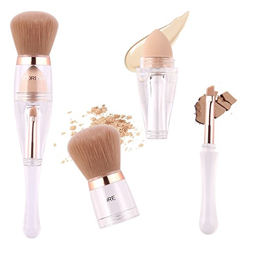 (Makeup Brushes Zoreya(TM) 3 in 1 New TRIO Complexion 3x High Efficient Multipurpose Professional Makeup Brushes set Kit with Maximum Application, Bronzer Brush, Blender Sponge (Angled Brow Set))
