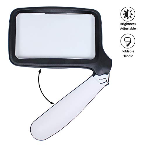 Magnifying Glass with Light, Folding Handle, 5 Bright LED Magnifier, 2X Rectangular Handheld Reading Magnifying Glass for Seniors, Low Vision, Macular Degeneration, Hobbyists by H+LUX