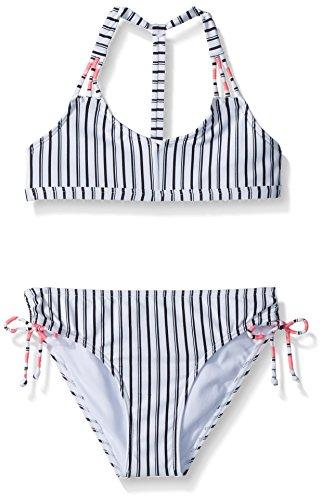 Highway Stripe (O'Neill Big Girls' Highway Stripe Triangle Bikini Set, White With Black, 14)
