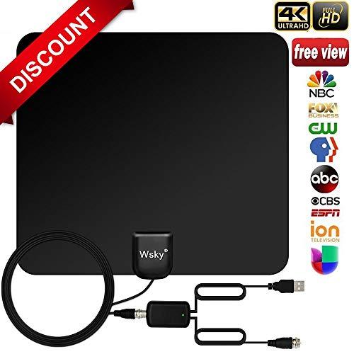Wsky Antena de TV Mejor 1080P 80.5km Digital Antena HDTV Interior–Versión Mejorada USB con Suministro de Corriente...