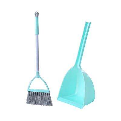 NUOBESTY Mini Escoba y Recogedor Herramientas de Limpieza para Oficina Juguetes de Limpieza para Niños (Verde Menta): Juguetes y juegos