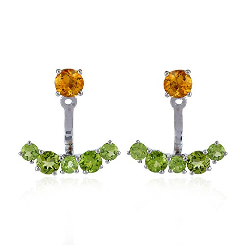Round Shape Natural Citrine Peridot Sterling Silver Ear Jacket Stud Earrings for Women ()