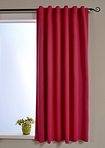 Mysky Home Thermal Insulated Blackout Curtains for Girls Room - Back Tab/ Rod Pocket- Fuschia Pink-52