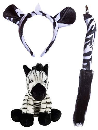Wildlife Tree Stuffed Plush Zebra Ears Headband and Tail Set with Baby Plush Toy Zebra Bundle for Pretend Play Animals Dress Up -