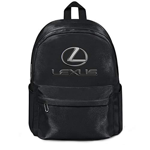 Womens Girl Boys College Bookbag Classic Nylon Packable School Backpack Lexus-Logo- Bag Purse Black
