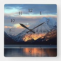 TattyaKoushi 15 by 15-inch Wall Clock, Lake McDonald Glacier National Park Square Wall Clock, Living Room Clock, Home Decor Clock