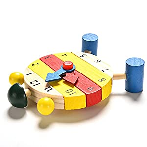 Baby Blocks Early Learning Building Children Educational Wooden Toy Clock QW