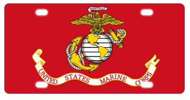 United License Plate - United States Marine Corps (USMC) Metal License Plate Frame Decorative Front Plate 6