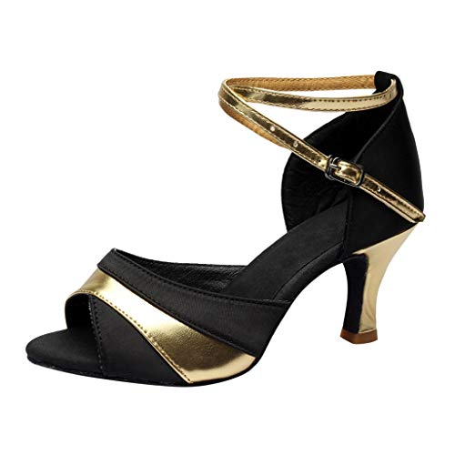 Gift Ideas!!! WANQUIY Ladies Mid-High Heels Glitter Dance Shoes Women Ballroom Latin Tango Rumba Dance Shoes Gold