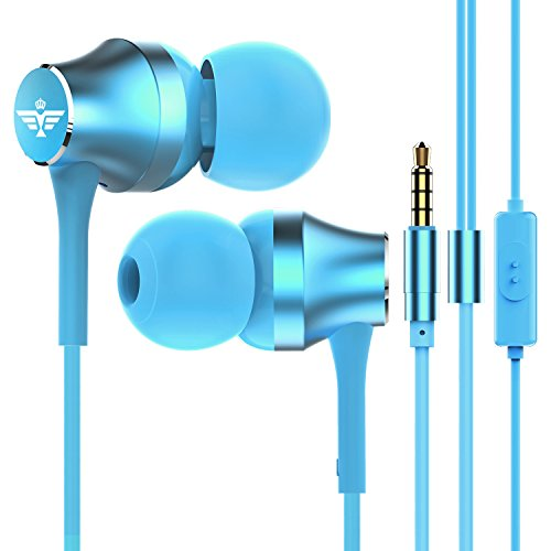 in-Ear Headphones Earbuds Wired Sweatproof Sport Workout Running Headphones Noise Isolating Music Over Ear Earbuds with Mic for Jogging Gym Exercise Earphones Cell Phone Ear Buds Kids Headset Blue