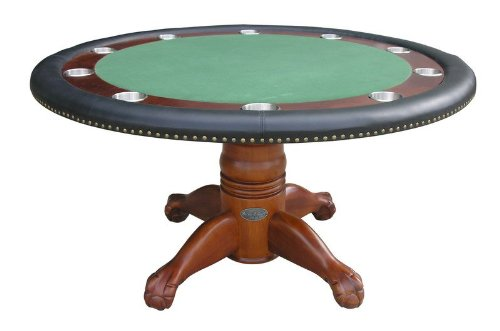 60'' Round Poker Table in Antique Walnut By Berner Billiards by Berner Billiards