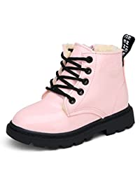 Bumud Boy's Girl's Waterproof Lace-Up Martin Boots Winter Warm Shoes