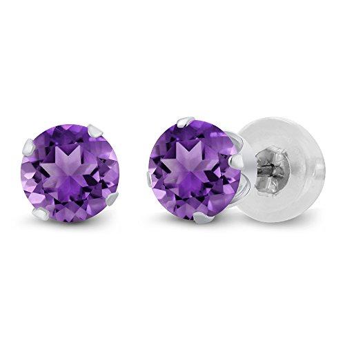 Gem Stone King Purple Amethyst 10K White Gold Gemstone Birthstone Stud Earrings (1.00 cttw, 5MM Round Cut)