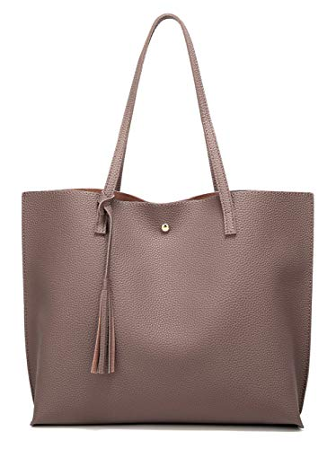 Women's Soft Faux Leather Tote Shoulder Bag from Dreubea, Big Capacity Tassel Handbag Tan