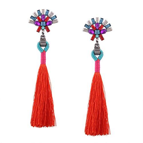 Vintage Rhinestone Crystal Alloy Tassel Earrings Women Ethnic Pendientes Dangle Earrings