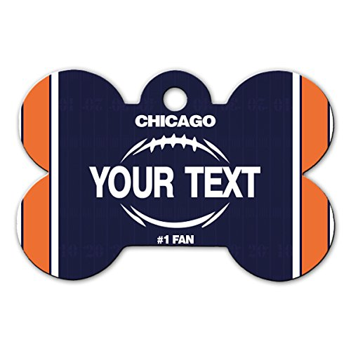 BleuReign(TM Personalized Custom Name Football Chicago License Plate Bone Shaped Metal Pet ID Tag with Contact ()
