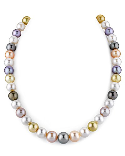 THE PEARL SOURCE 14K Gold 9-11 Round Genuine Multicolor South Sea Cultured Pearl Necklace in 17