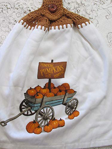 Pumpkin Wagon Crochet Top Double Layer Fall Towel - Pumpkins For Sale- Hanging Kitchen Towel - Brown Cotton Crochet Top - Refrigerator Wagon