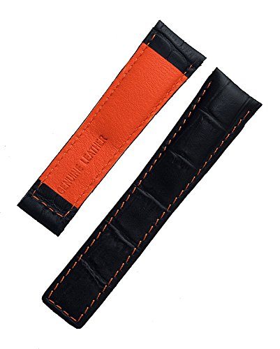 (22mm Black Alligator-Style Genuine Leather Watchband with Orange Stitching & Lining to fit TAG Heuer Monaco, Silverstone & Targa Florio (Spring Bars Included))
