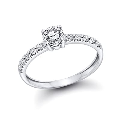1/2 cttw GIA Certified Diamond Engagement Ring in 14k White Gold (1/2 cttw, E Color, VS2 Clarity)