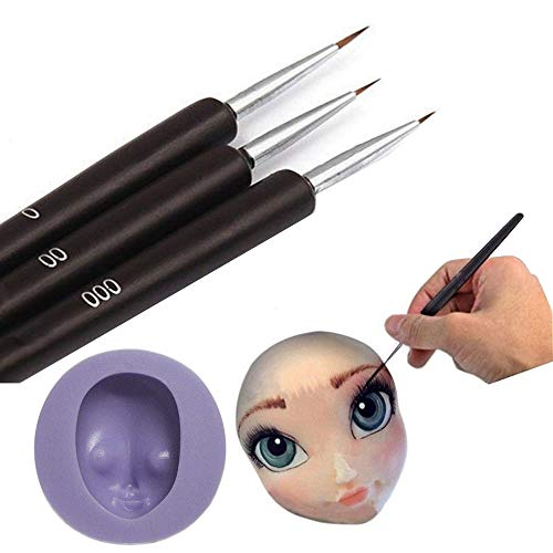Face Princess - Cake paintbrushes 3pcs set Anyana + elsa face molds Cake Decorating Brush Food Paint pens Icing Cupcake Sugarcraft Cake Tool princess doll Face head Fondant Mold Silicone Mould Candy sugarcraft