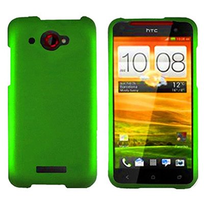 HTC Droid DNA Case, CoverON [Snap Fit Series] Hard Rubberized Slim Protective Phone Cover Case for HTC Droid DNA - Neon (Cover Htc Droid Dna 6435)