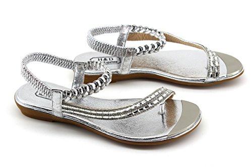 Modelisa - Sandalias Trenzada Mujer Plata