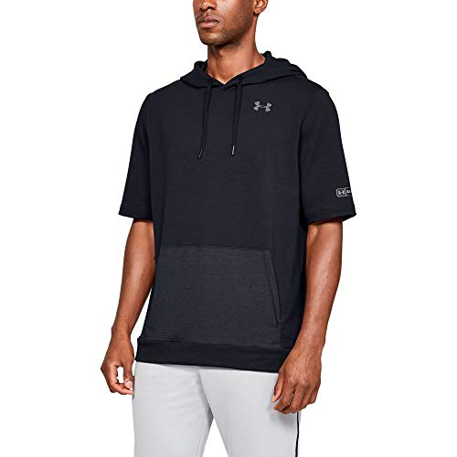 Under Armour Men's M IL Utility Short sleeve Cage Hoodie, Black (001)/Graphite, Large