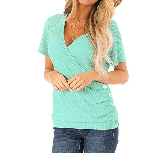 Casual Button Henley Shirt for Women,St.Dona Summer Elegant Solid V-Neck Short Sleeve Cross Shirt T-Shirt Tops Blouse Pink