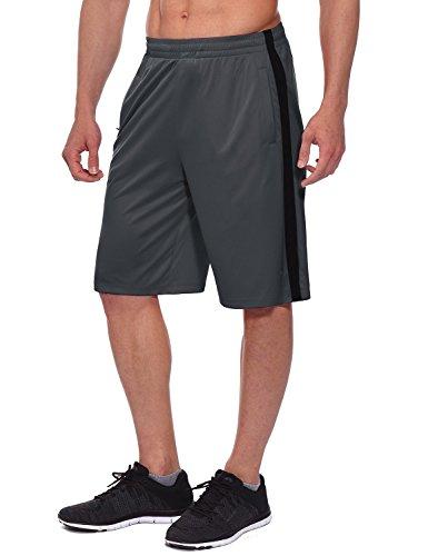 BALEAF Men's Athletic Basketball Shorts Training Workout Zipper Pockets Gray Size M (Brooklyn Basketball Shorts Men)