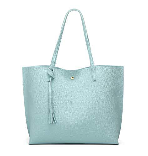 - Women's Soft Faux Leather Tote Shoulder Bag from Dreubea, Big Capacity Tassel Handbag Light Blue