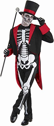 Skeleton Halloween Costume Man (Men's Mr. Bone Jangles Costume, Black/White, One Size)