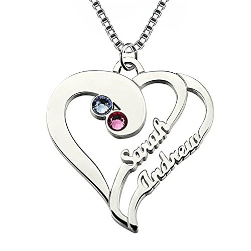 Personalized Heart Name Necklace Two Hearts Forever One(silver - Online Shopping New Forever