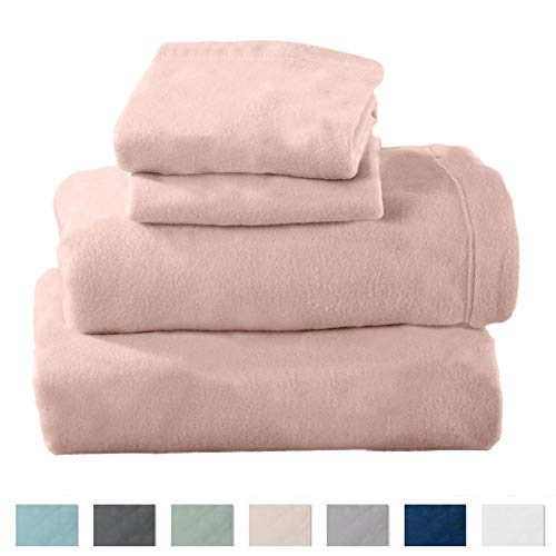 Home Fashion Designs Maya Collection Super Soft Extra Plush Polar Fleece Sheet Set. Cozy, Warm, Durable, Smooth, Breathable Winter Sheets in Solid Colors Brand. (Full, Blush Pink)