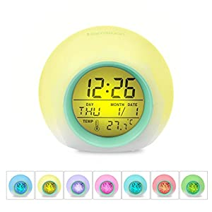 [Kids Gifts] HAMSWAN 7 Colors Changing Alarm Clock Nature Sounds One Tap Control Sleep-Friendly with Indoor Temperature Display for Working Parents, Students etc (Light Green)
