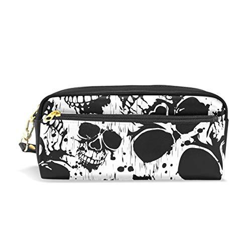 U Life Pencil Bag Pouch Case Pen Holder Box with Zipper for School Boys Girls Kids Halloween Black White Skulls -