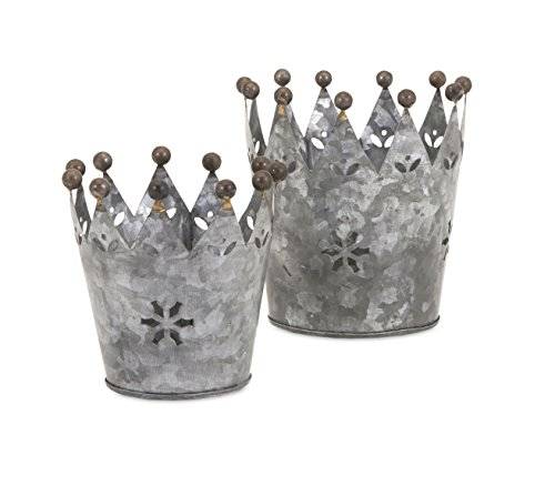IMAX 84863-2 Maddy Galvanized Crowns (Set of 2) - Crown Iron Sculpture