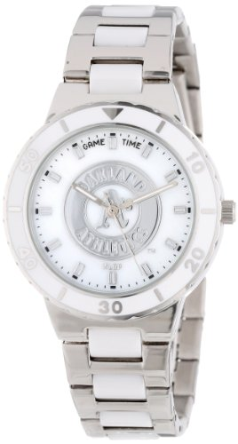 Game Time Women's Quartz Metal and Stainless Steel Casual Watch, Color:Silver-Toned (Model: MLB-Pea-Oak) - Oakland Athletics Dart
