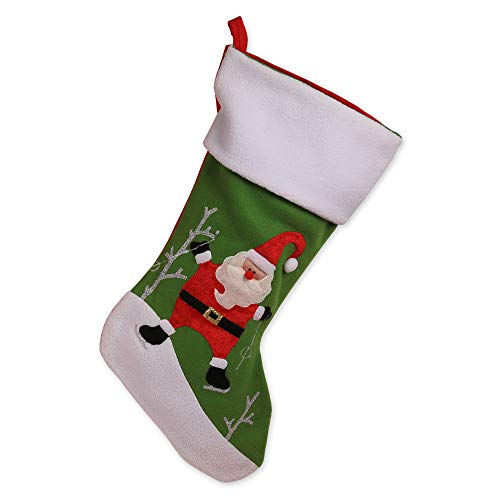- Natico Season Ice Skating Santa Christmas Stocking, White/Red (100-102571)