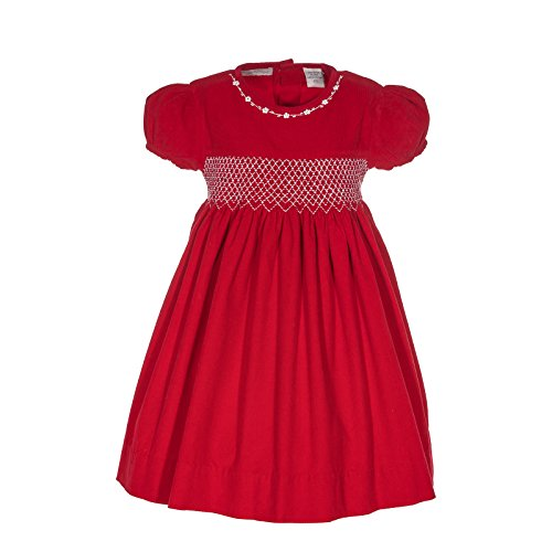Carriage Boutique Girl's Diamond Smocking Red Corduroy Short Sleeve Dress (2T)