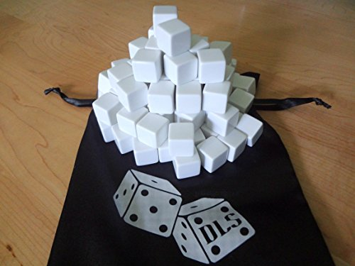 100 Blank White Dice 16MM with Storage Bag