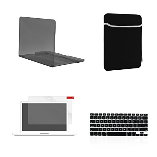TOP CASE 4 in 1 Bundle - Crystal Hard Case Cover + Matching Color Soft Sleeve Bag + Keyboard Cover + LCD HD Clear Screen Protector (Release 2012-2015) - (Case Headset Lcd Stylus)