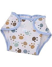 QiKun-Home Herbruikbare volledig katoenen pasgeboren baby natuurlijke luiers doek comfortabele 6 lagen wasbare babyverzorgingsproducten witte kleurrijke voetafdruk