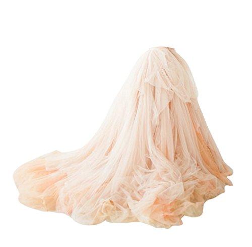 Long Tulle Train (BetaaBetaa Women Long Train Tutu Tulle Skirt Wedding Skirt Bridal Skirt Prom Skirt S Champagne)