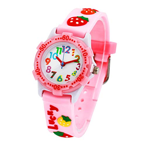Eleoption Waterproof Kids Watch for Girls Boys Time Machine Analog Watch Toddlers Watch 3D Cute Cartoon Silicone Wristwatch Time Teacher for Little Kids Boys Girls Birthday Gift (Strawberry Pink)