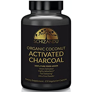Activated Coconut Charcoal Capsules, Organic, 210 pills, Food Grade Detox, Non GMO Veggie Tablets, Active Charcoal, For Teeth Whitening, Bloating, Digestive System,To Prevent Hangover,Vegan, eBook