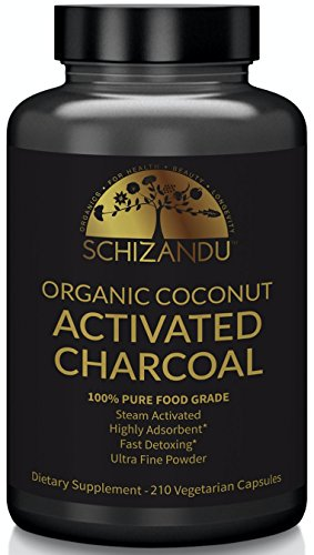Organic Activated Charcoal Capsules, 210 Pills, Food Grade Detox, Non GMO Veggie Tablets, Active Coconut Charcoal, for Teeth Whitening, Bloating, Digestive System,to Prevent Hangover,Vegan, eBook from Schizandu Organics