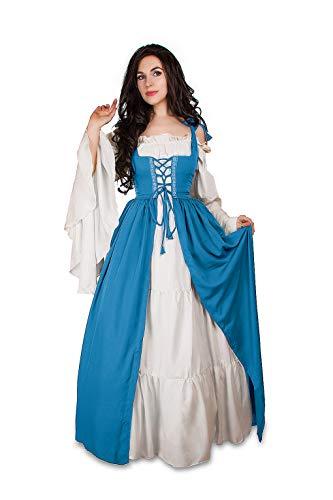 Mythic Renaissance Medieval Irish Costume Over Dress & Cream Chemise Set (XXS/XS, French Blue/White) -