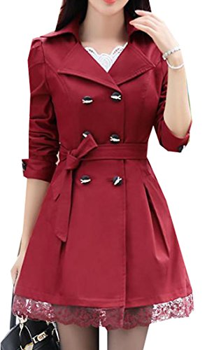 Belted Floral Trench Coat - Pandapang Womens ClassicDouble Breasted Belted Long Jacket Trenchcoat Claret XS